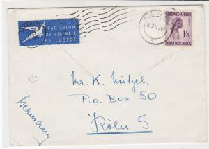 South West Africa 1957 Windhoek Cancel Airmail to Germany Stamps Cover Ref 29936