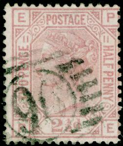 SG141, 2½d rosy mauve PLATE 11, USED. Cat £60. PE