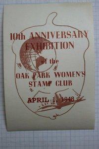 1948 Oak Park IL Womens Stamp Club 10th Anniversary Expo Souvenir Ad