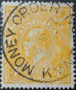 Australia 1916 GV Four Pence with MONEY ORDER KYNETON postmark