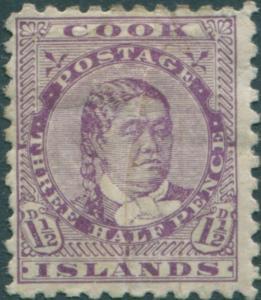 Cook Islands 1896 SG14a 1d Queen Makea Takau p11 natural paper folds MH