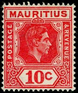 MAURITIUS SG256c, 10c Pale Reddish Rose Perf 15x14, LH MINT. Cat £42.