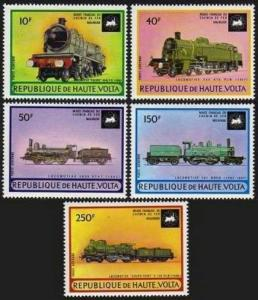 Burkina Faso C154-C158,MNH.Michel 440-444. Locomotives from Railroad Museum,1973
