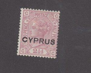 CYPRUS # 3 PLATE 14 MLH Q/VICTORIA 2.5p CLARET