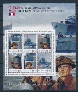 [81205] St. Kitts 2011 Second World war D-day Gold beach Sheet MNH