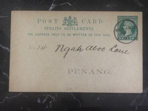 1891 Penang Straits Settlements Rates And Taxes Postcard Cover