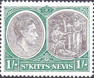 ST KITTS-NEVIS 1943 KGVI 1/- Black & Green SG75b MH