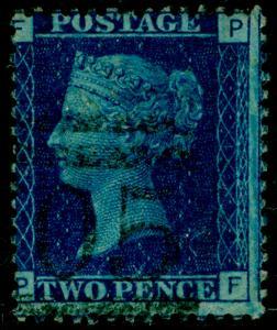 SG47, 2d dp blue plate 15, FINE USED. Cat £38. FF