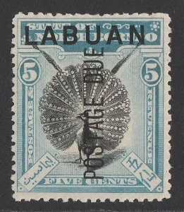LABUAN : 1901 'Postage Due' on Pheasant 5c black & pale blue, perf 13½-14.