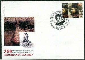 355 - NORTH MACEDONIA 2019 - Art - Rembrandt Van Rijn - FDC