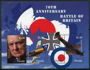Tuvalu 2010 MNH WWII WW2 Battle of Britain 70th Ann 4v M/S II Churchill Stamps