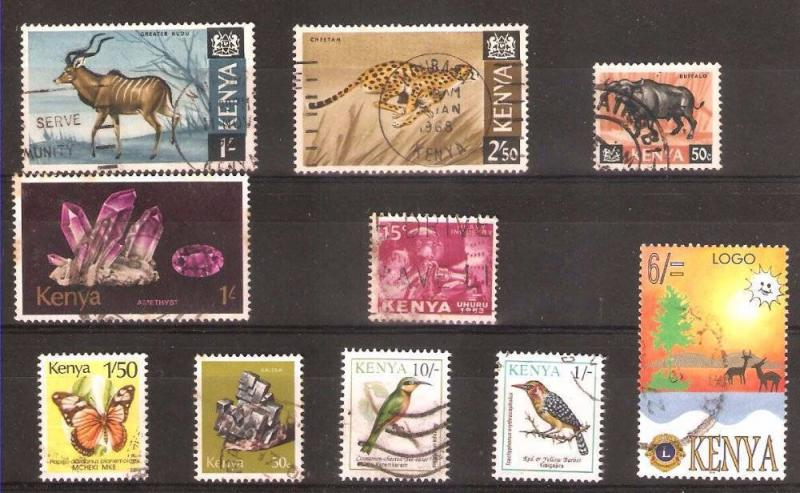 LOT Nr 126 KENYA  BRITISH COLONIES 10 STAMPS OLD AND MODERN