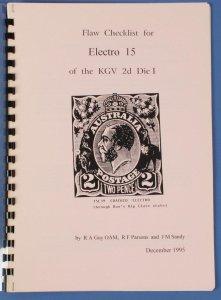AUSTRALIA : KGV 2d Die I Electro 15 Flaw List by Guy, parsons & Sandy.