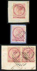 PRINCE EDWARD IS SG12 1862 2d perf 11.5-12 two singles and a Pair fine cancels