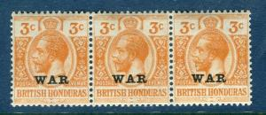 BRITISH HONDURAS; 1916-18 early GV WAR Optd. issue 3c. MINT MNH Strip of 3
