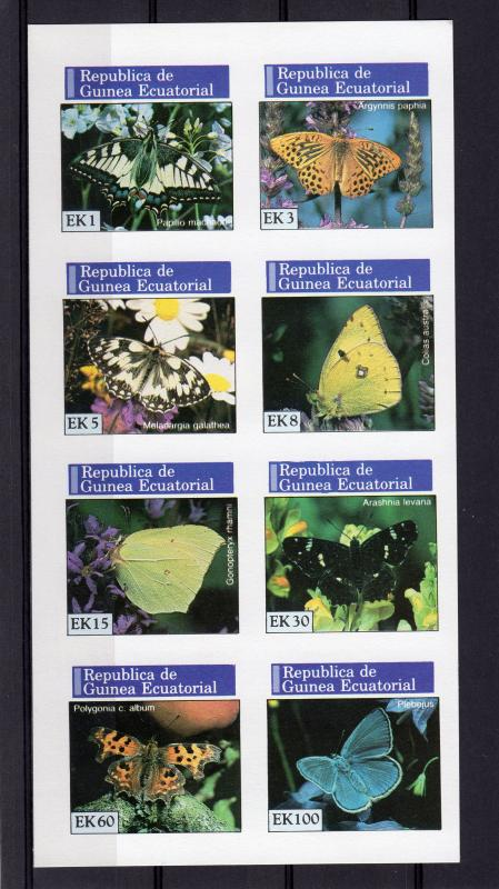 Equatorial Guinea 1976 Butterflies Sheetlet (8) Imperforated  MNH VF