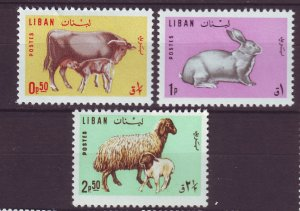 J24053 JLstamps 1965 lebanon set mh #440-2 animals