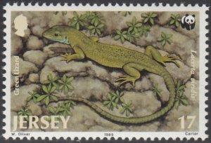 Jersey 1989 MNH Sc #509 17p Green Lizard WWF