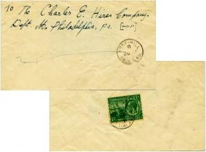 Trinidad 1/2d KGV and Britannia 1935 Rose Hill, Trinidad Printed matter to Ph...