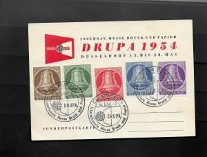 GERMANY BERLIN 1954 CARD WITH BELLS SET