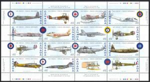 Canada Sc# 1808 MNH Pane/16 (inscribed) 1999 46¢ Canadian Air Forces