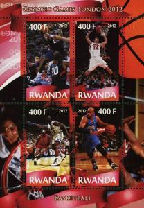 Rwanda Basketball Sport Olympic Games London 2012 Souvenir Sheet of 4 Stamps Min