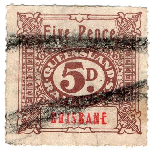 (I.B) Australia - Queensland Railways : Parcel Stamp 5d (Brisbane)
