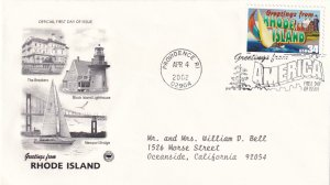 2002, Greetings from Rhode Island, PCS, FDC (E11359)