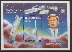 ST.VINCENT SGMS1239 1989 TELSTAR II COMUNICATIONS SATELLITE MNH