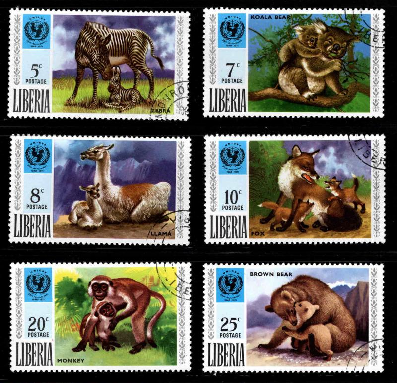 LIBERIA Scott 571-576 Used CTO Wildlife set
