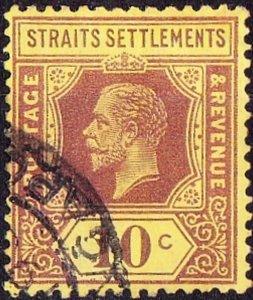 MALAYA STRAITS SETTLEMENTS 1923 KGV 10c Purple/Pale Yellow Die 1 SG231