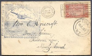 1940 First Flight FAM 19 Cover to New Zealand: Golden Gate Int Expo Cancel!