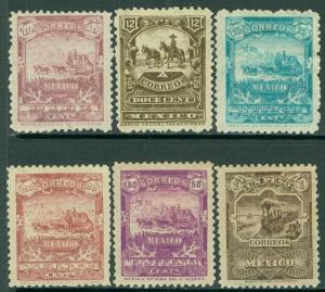 EDW1949SELL : MEXICO 1895 Sc #248-54 VF, MOG. Top value is backstamped. Cat $274