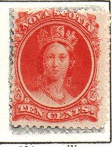Nova Scotia Sc 12 1860 10c vermilion Victoria stamp mint
