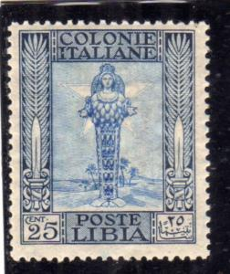 LIBIA 1921 PITTORICA CENT. 25c MLH BEN CENTRATO