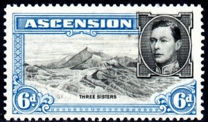 1938 Ascension Sg 43 6d black and blue (perf 13½) Mounted Mint