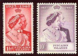 Pitcairn Islands 1949 KGVI Silver Wedding set complete MNH. SG 11-12. Sc 11-12.