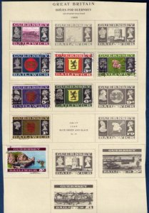 18 Ea Guernsey Sc 8-21(1969/1971)Sc 41-55 Used Bailiwick Issues On 2 Scott Pages
