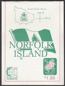 NORFOLK IS 1995 $1.80 Booklet of local 5c stamps SINGAPORE'95 overprint.....A700