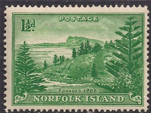 Norfolk Island 1947 KGV1 1 1/2d Emerald Green MM SG 3 ( J736 )