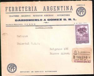 AARG-360 ARGENTINA 1966-67 REGISTERED COMERCIAL COVER PROC Y RIQ FLORA TREE 25 p