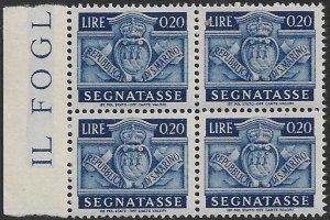 SAN MARINO 1945 20c Postage Due Stamp BLOCK OF 4 Sc J68 MNH
