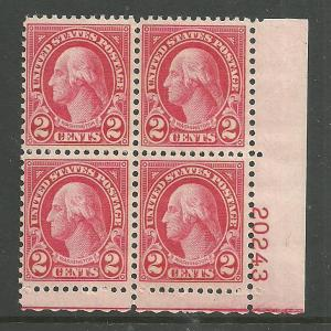 #634 Washington Plate Block Mint NH #20243 LR