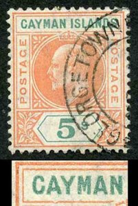 Cayman Is SG16a 5/- salmon and green Mult CA DENTED FRAME (only 19 printed)