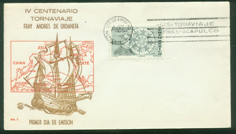 MEXICO C313, 400th ANNIV RETURN SHIP ROUTE FROM THE PHILIPPINES. FDC VF. (17)