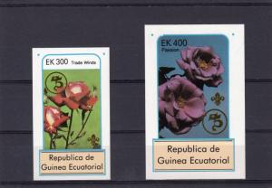 Equatorial Guinea 1982 Roses ovpt.75th.Ann.Scouts 2 SS Imperforated MNH VF