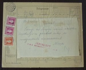 Austria 1918 Serbia WWI Censored Franked Telegram - Rare !  C2