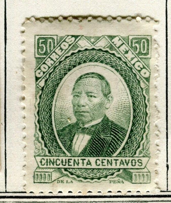 MEXICO; 1879 early classic Juarez issue fine Mint hinged 50c. value