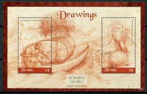 Tuvalu 2019 MNH Leonardo Da Vinci Drawings 500th Memorial 2v S/S Art Stamps