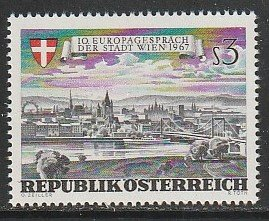 1967 Austria - Sc 794 - MNH VF - 1 single - View and Arms of Vienna